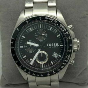 Fossil Men's Stainless Steel Black Dial Watch D706